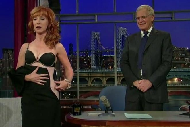 Kathy Griffin Pulls Down Her Dress on David Letterman's 'The Late Show'