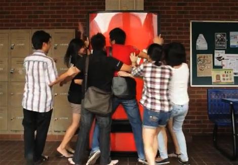 Cokes Hug Me Machine Dispenses Free Coke