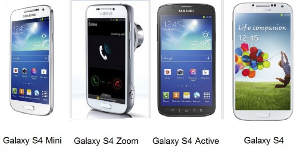 Samsung S4 Variants: Galaxy S4 Active, S4 Zoom and S4 Mini